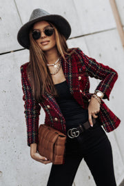 Button Plaid Lapel Coat