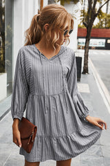 V-neck Striped Drawstring Long Sleeve Dress
