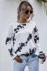 Tie-Dyed Printed Crew Neck Long Sleeve T-Shirt
