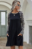 Leopard Sleeve Round Neck Dress