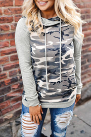 Camouflage Piled-collar Hooded Sweater