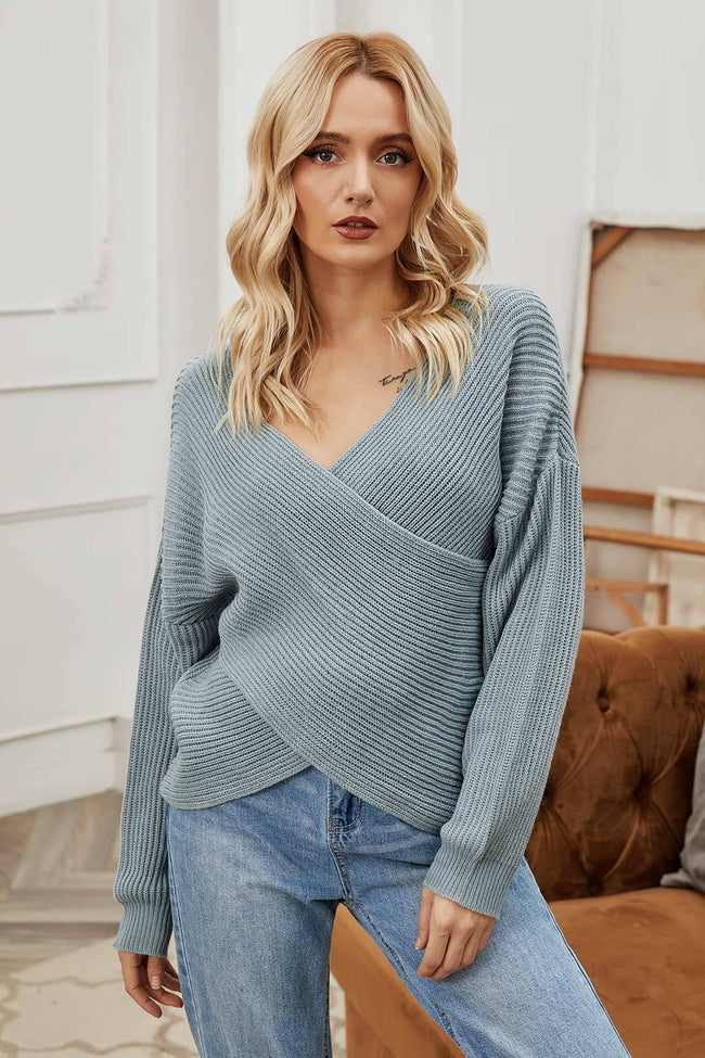 Irregular Cross V-neck Long-sleeved Sweater