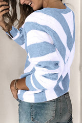 Striped Contrast Deep V-neck Knitted Sweater