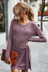 Drawstring Solid Color Long Sleeve Dress