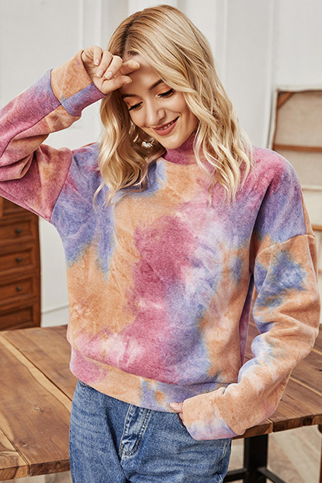 Long-sleeved High-neck Tie-dye Sweater