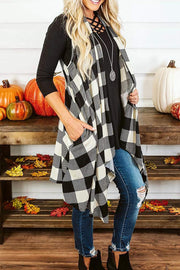Plaid Sleeveless Pocket Kint Cardigan
