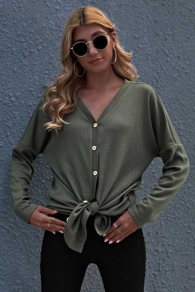 Front Tie Solid Color Button Knit Top