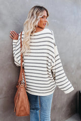Large Size Loose Striped Knitted Sweater