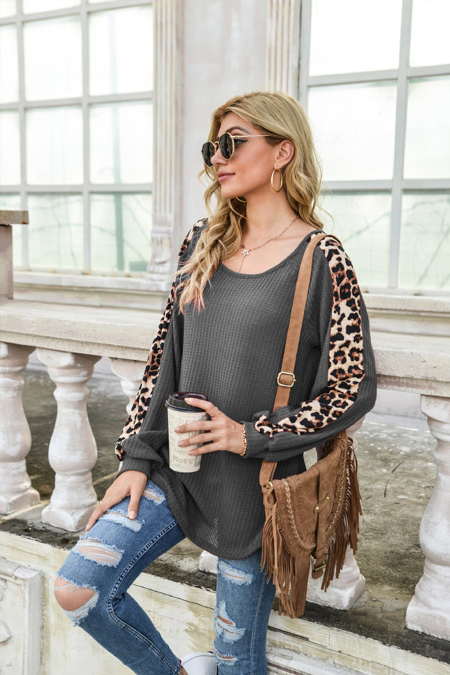 Leopard Print Patchwork Long Sleeve Top