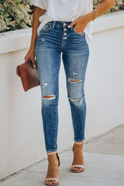 Hand-worn High Waist Nine Points Jeans