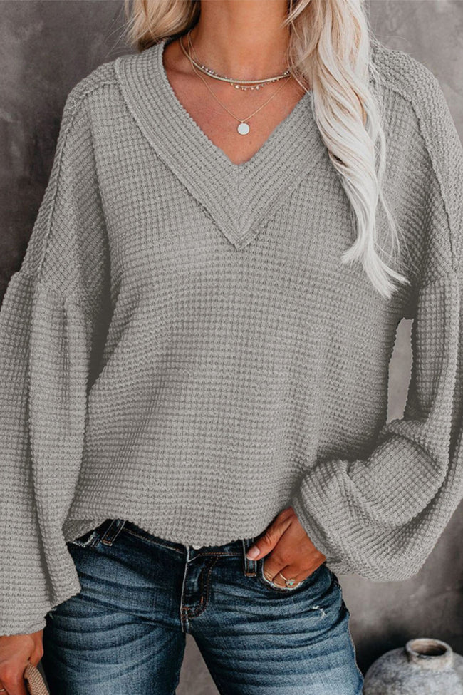 Solid V-neck Bubble Sleeve Top