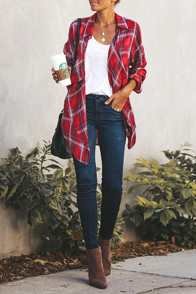 Plaid Lapel Cardigan Loose Shirt