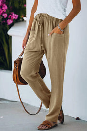 Loose Solid Color Tether Pocket Pants