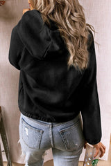 Button Half-open Hooded sweater