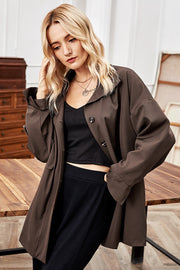 Stand-up Collar Single-breasted Loose Jacket