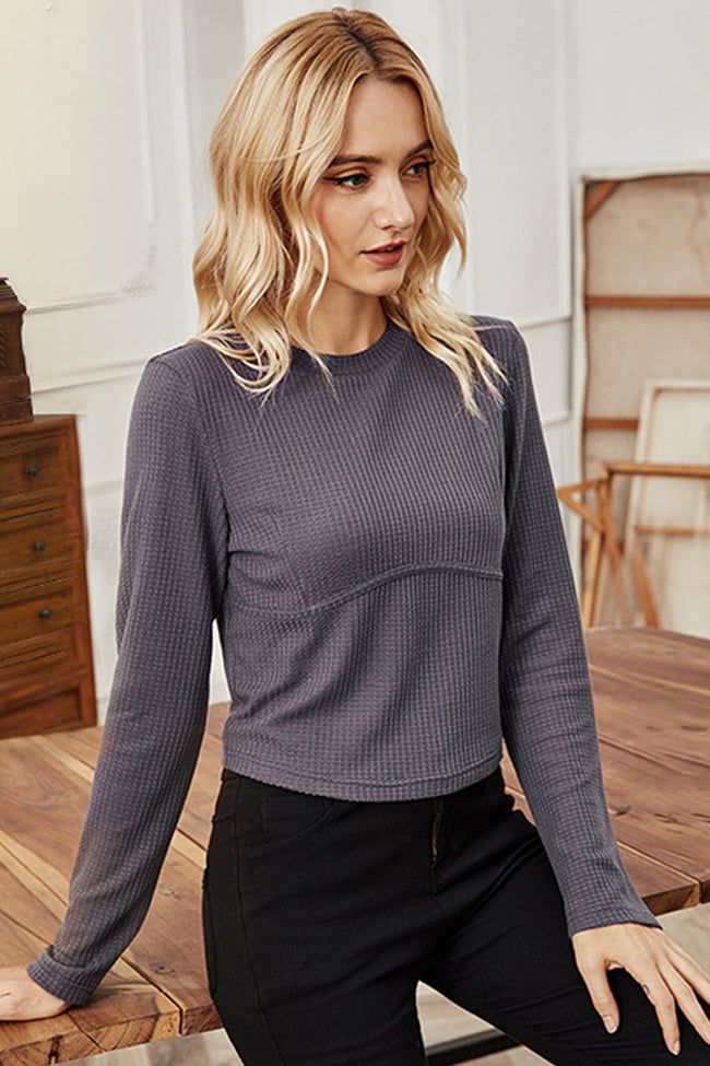 Knitted Slim Round Neck Short Long Sleeve Top