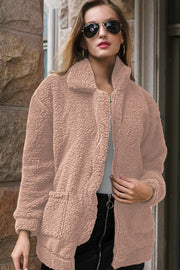 Lapel Plush Pocket Thicken Coat
