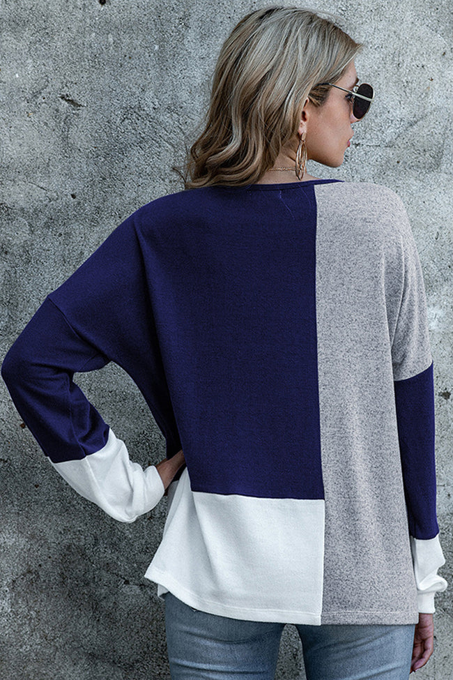 Round Neck Contrast Stitching Long-sleeved Top