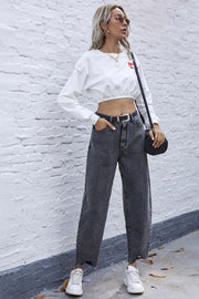 High Waist Irregular Denim Straight Trousers
