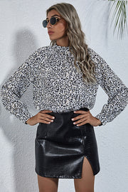 Leopard Print Low Neck Long Sleeve Shirt