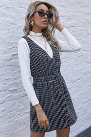 V-neck Plaid Waist Button Dress