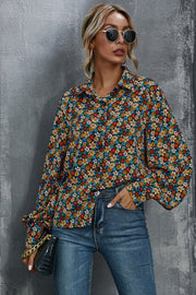 Flower Print Loose Long Sleeve Shirt