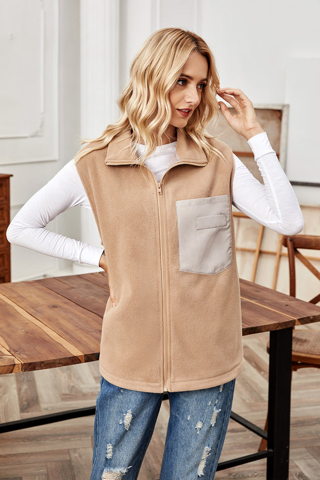 Sleeveless Cardigan Pocket Zipper Vest