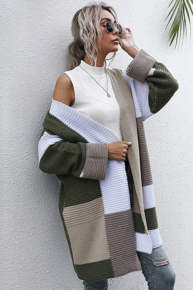 Contrasting Stitching Knitted Mid-length Cardigan