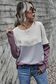 Three-color Contrast Long-sleeved Round Neck Top