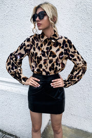 Leopard Print Button Lapel Loose Shirt
