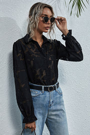 Perspective Lace Embroidery Flower Shirt