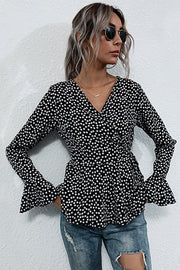 V-neck Slim-fit Long-sleeved Polka Dot Shirt