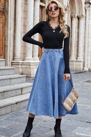 Large Swing High Waist Denim Long Skirt