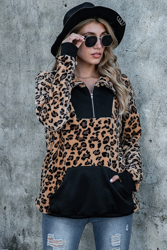 Zipper Double-Sided Fleece No-Pilling Leopard Print Pullover