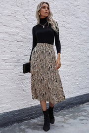 Zebra print High Waist Slit Midi Skirt