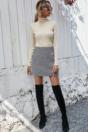 High Waist Pearl Plaid Skirt