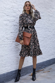 French Retro Floral Waist Dress