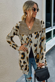 Leopard Print Coat With Long Lapel Collar