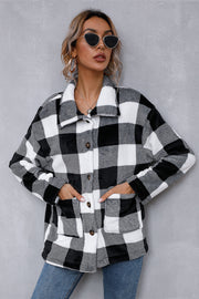 Woolen Cardigan Contrast Plaid