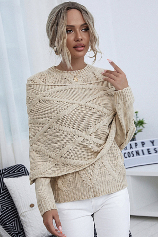 Solid Color Round Neck Shawl Sweater