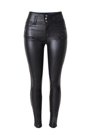 Leather 3-button Zipper Locomotive Pants