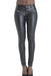 Panel Zipper Leather Pants