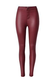 High Waist Solid Color Street Leather Pants