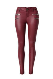 Zipper Solid Leather Pants