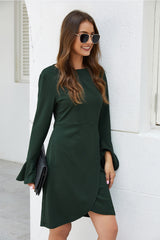 Knitted Drawstring Solid Color Dress