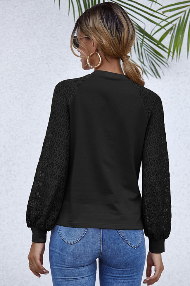 Stitching Long Sleeve Hollowed Out Slim Top