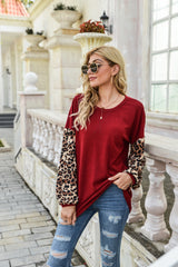 Leopard Stitching Long Sleeve Sweater