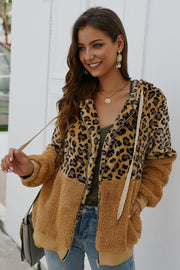 leopard zipper hooded fluffy coat