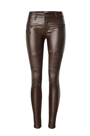 Leather Stitched Zipper Locomotive Pants