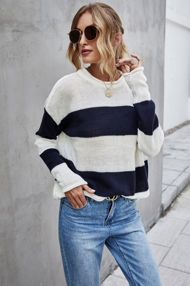 Stripe Splice Long Sleeve Crew Neck Tops